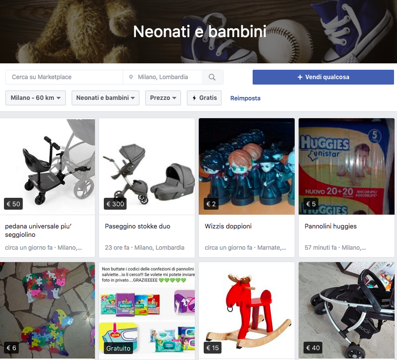 MarketPlace Facebook Infanzia